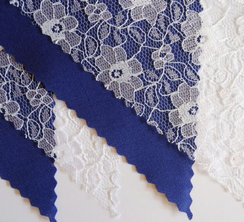BUNTING - Plain Royal Blue & White Floral Lace - 3m/10ft or 5m/16ft
